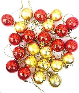 Urvi Creations Christmas Xmas Tree Decoration 24 Pcs Big Size Red Golden Balls Combo Set Hanging Ornaments for Xmas Christ...