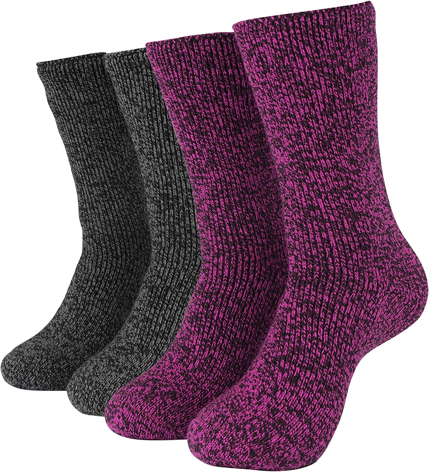 Hot Feet Women's 2 Pack Warm Cozy Thermal Socks - Thick Insulated Crew for Cold Winter Weather, Shoe Size 4-10
