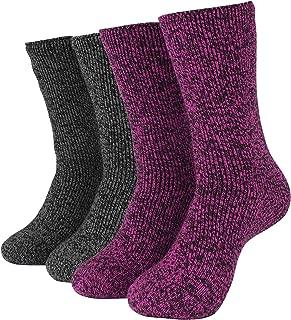 Hot Feet Cozy, Heated Thermal Socks for Women, Cute, Fuzzy, Women's Crew Socks | USA Women's Shoe Sizes 4-10.5 - Hot Feet | Pink Marl/Black Marl