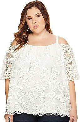 Plus Size Elbow Sleeve Cold-Shoulder Organic Lace Blouse