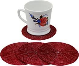 SKAVIJ Handmade Tea Coasters Set Beaded Pack of 4 Round Coffee Beer Can Coaster - 4 Inch for Christmas Party Decor