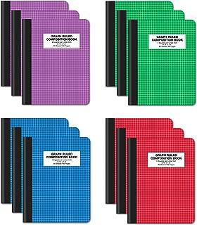 دفتر تكوينات بوك ثلاثي القوام، عبوة من 12 قطعة، غلاف صلب 4×4، ورق مسطر، 80 ورقة ، 24.77 × 19.05 سم، من أفضل المنتجات المكت...