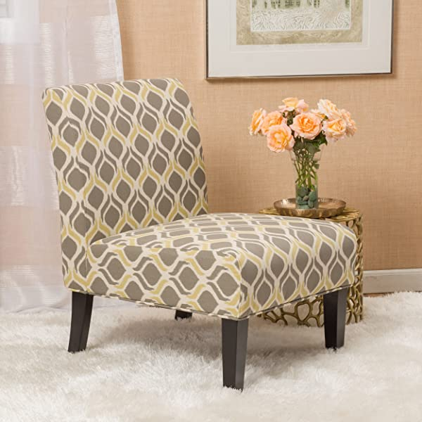 Christopher Knight Home 297288 Kalee Dining Chair Yellow And Grey Print