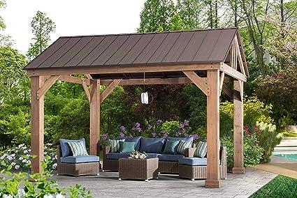 Sunjoy L-GZ1171PWD-B Hudson Cedar Wood Pavilion