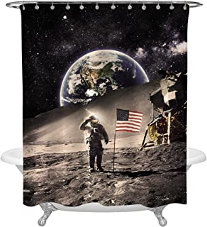 MitoVilla Astronaut with USA Flag on The Moon Image Earth Space Backdrop Shower Curtain, Vintage Style Cosmos Themed Bathroom Decor, Waterproof Fabric, 72 x 78 inches for Standard Bath Tub, Multicolor