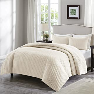 Comfort Spaces Kienna Quilt Coverlet Bedspread Ultra Soft Hypoallergenic All Season Lightweight Filling Stitched Bedding Set, Twin/Twin XL 66x90, Ivory 2 Piece