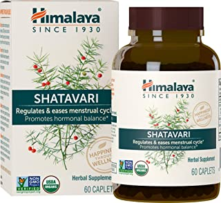 Himalaya Organic Shatavari for PMS, Menstrual Cramp Relief, Menopause Support, and Women's Health, 1,300 mg, 60 Caplets, 1...