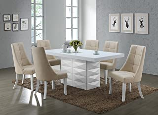 Kings Brand Furniture - Milan 7 Piece White Modern Rectangle Dinette Dining Room Table & 6 Beige Vinyl Chairs