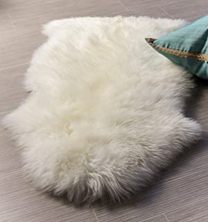 Super Area Rugs Single Ultra-Soft New Zealand Fluffy Sheepskin Rug, Pelt, Natural