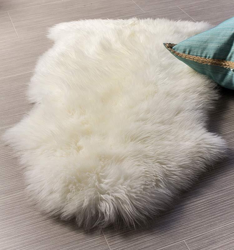 Super Area Rugs Single Ultra Soft New Zealand Fluffy Sheepskin Rug Pelt Natural