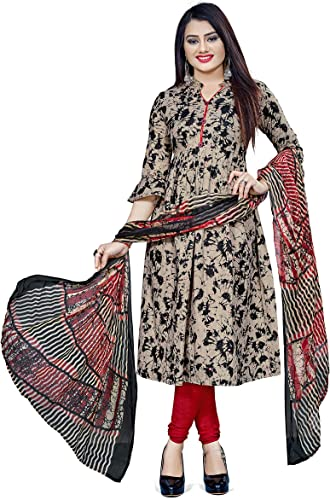Women S Printed Leon Synthetic Printed Dress Material With Dupatta Beige