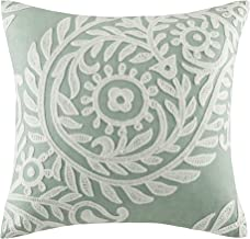 Harbor House Miramar Fashion Cotton Linen Throw Pillow, Traditional Damask Square Decorative Pillow, 18X18, Jadeite