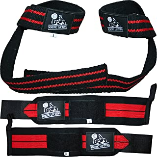 Wrist Wraps + Lifting Straps Bundle (2 Pairs) for Weightlifting, Cross Training, Workout, Gym, Powerlifting, Bodybuilding - Support for Men/Women, Avoid Injury During Weight Lifting