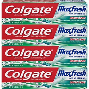 Colgate Max Fresh Whitening Toothpaste with Breath Strips, Clean Mint - 6 ounce (4 Pack)