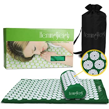 HemingWeigh Complete Acupressure Mat and Pillow Set with Bonus Carry Bag (Green)