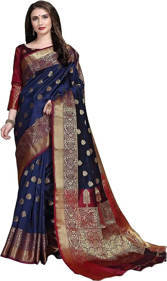 Indian COTTON SHOPY Women's Banarasi Cotton Silk Saree With Un-stitched Blouse Saree