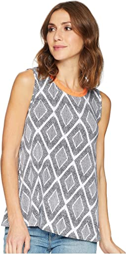 Printed Jersey Sleeveless Cami with Fringe Neckline