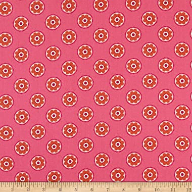 Lewis & Irene Flower Child Funky Daisy Hot Pink Quilt Fabric By The Yard