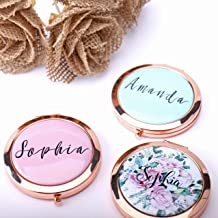Personalized Compact Mirror Bridesmaid Gift, Any Logo Image, Wedding Favors Mothers Day Gift Watercolor Flower Gift for her