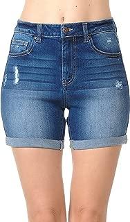 Women's Juniors High Rise Midi Denim Shorts with Destruction