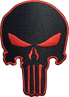 Black Red Skull Sew on Iron on Embroidered Applique Patch - Black and Red - By Ranger Return (RR-IRON-PUNI-SKUL-BKRD)