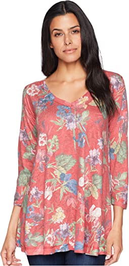 3/4 Sleeve Red Multi Floral Tunic