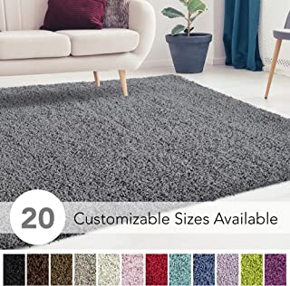 iCustomRug Cozy and Super Soft Plush Solid Shag Rug Ideal to Enhance Your Living Room and Bedroom Decor in 13 Colors / 20 Custom Sizes 6' X 9' Charcoal/Dark Grey
