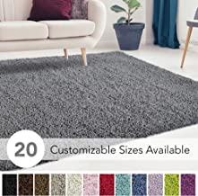 iCustomRug Cozy and Super Soft Plush Solid Shag Rug Ideal to Enhance Your Living Room and Bedroom Decor in 13 Colors / 20 Custom Sizes 10' X 12' Charcoal/Dark Grey