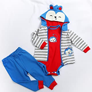 Fit for 24 inch Reborn Baby Doll Boy Outfit Cute Newborn Baby Doll Matching Clothes ONLY with Monkey Pattern 3 pcs Clothing Sets