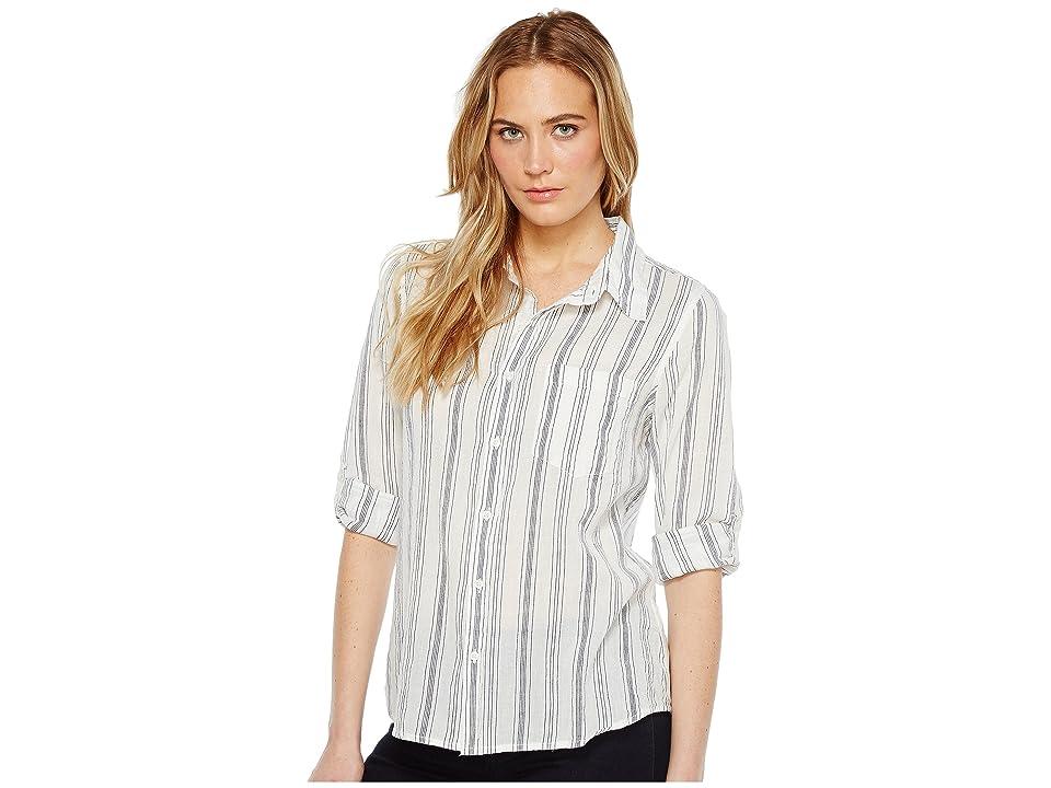 Dylan by True Grit Sea Stripes One-Pocket Roll Sleeve Shirt (White/Indigo) Women