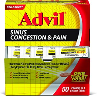 Advil Sinus Congestion & Pain Relief (50 Count Packets), Non-Drowsy, 200mg Ibuprofen Pain Reliever/Fever & Nasal Decongestant, One Tablet Dose
