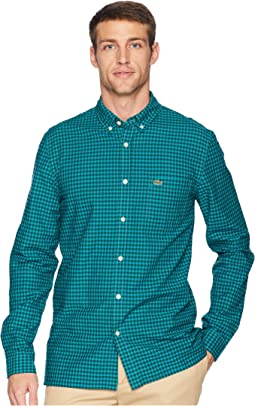 Long Sleeve Oxford Gingham Button Down Collar Regular
