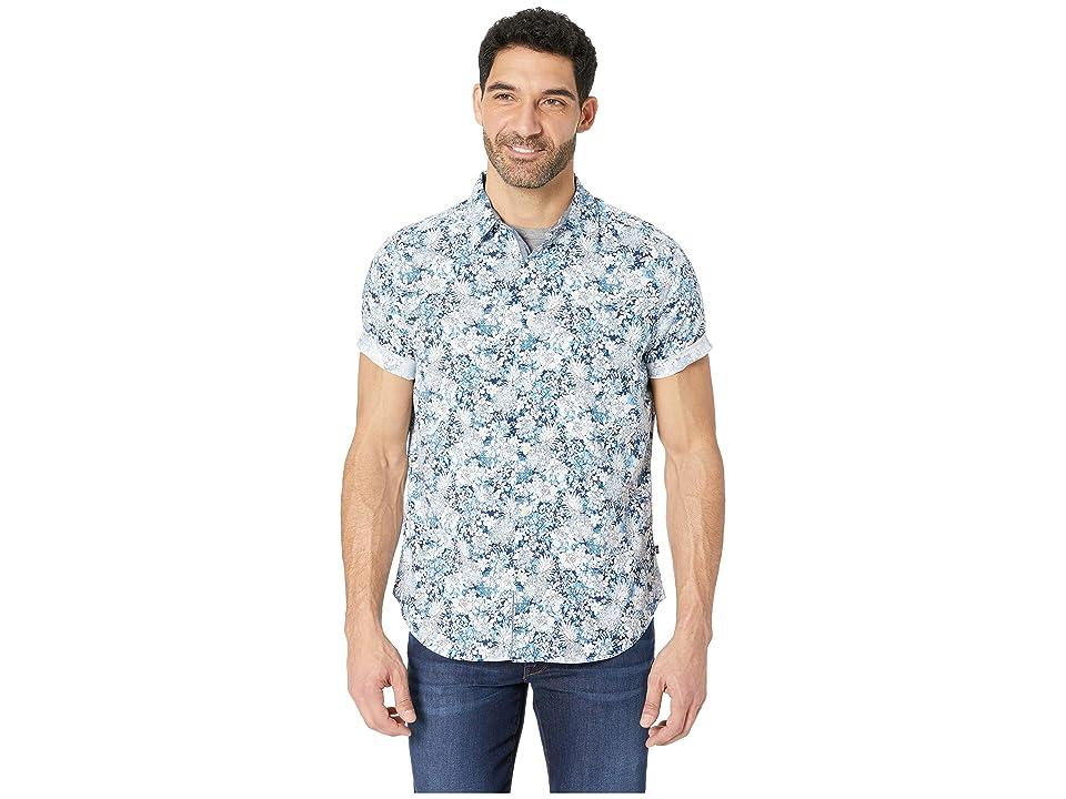 Nautica Short Sleeve Pineapple Print Woven Shirt (Alaskian Blue) Men