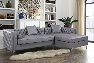 Iconic Home Da Vinci Right Hand Facing Sectional Sofa L Shape Chaise PU Leather Button Tufted with Silver Nailhead Trim Silvertone Metal Leg with 3 Accent Pillows, Modern Contemporary, Grey