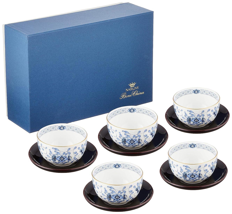 NARUMI(ナルミ) 湯呑 セット ミラノ ブルー 茶器揃(茶托付) 5個セット 180cc 日本製 9682-23029