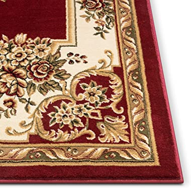 """Pastoral Medallion Red French European Formal Traditional 5x7 (5'3"""" x 7'3"""") Area Rug Easy to Clean Stain Fade Resistant Shed"""