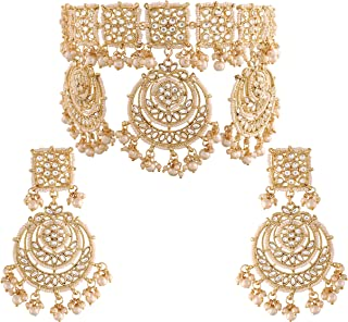 I Jewels 18k Gold Plated Traditional Pearl Kundan Studded Choker Jewellery Necklace Set for Women (K7202W)