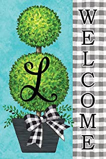 Custom Decor Gingham Topiary - Letter L - Embroidered Monogram - Decorative Double Sided Flag - Garden Size, 12 Inch X 18 Inch, Licensed, Copyright & Trademark CDI. USA