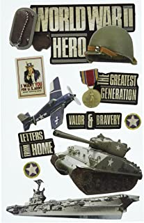 Paper House Productions STDM-0150E 3D Cardstock Stickers, World War II (3-Pack)