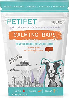 PETIPET Calming Bars - Pet Stress & Anxiety Relief - with Hemp, Chamomile, Passion Flower - Human-Grade Ingredients - Made in USA - 180 Chews