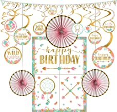 Party City Boho Girl Happy Birthday Decorating Supplies, Include Swirl Decorations, 3 Paper Fans, and a Pennant Banner