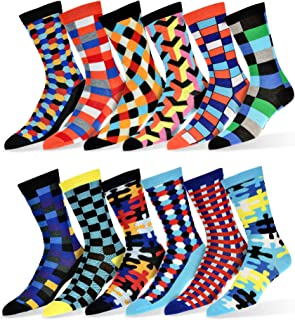 Robert Shweitzer Mens Fun Funky and Colorful Patterned Dress Socks with Cool and Crazy Designs -12 Pack