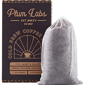 """Cafe Quality Cold Brew Coffee Bags - Large Overnight Cold Brew Coffee Filters, Fine Mesh Bag Disposable Filters that Fit Wide Mouth Mason Jars, 2 Quart & Gallon Cold Brew Maker 25 Cnt 