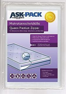 ASK Pack Housse De Protection Matelas Queen Premium (3. Génération) avec Fermeture éclair pour Largeur 160cm / 30cm de Hau...