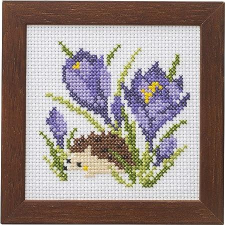 LECIEN (ルシアン) 刺しゅうキット かわいいどうぶつと季節のお花 フレーム付きクロスステッチキット はりねずみとクロッカス, 862