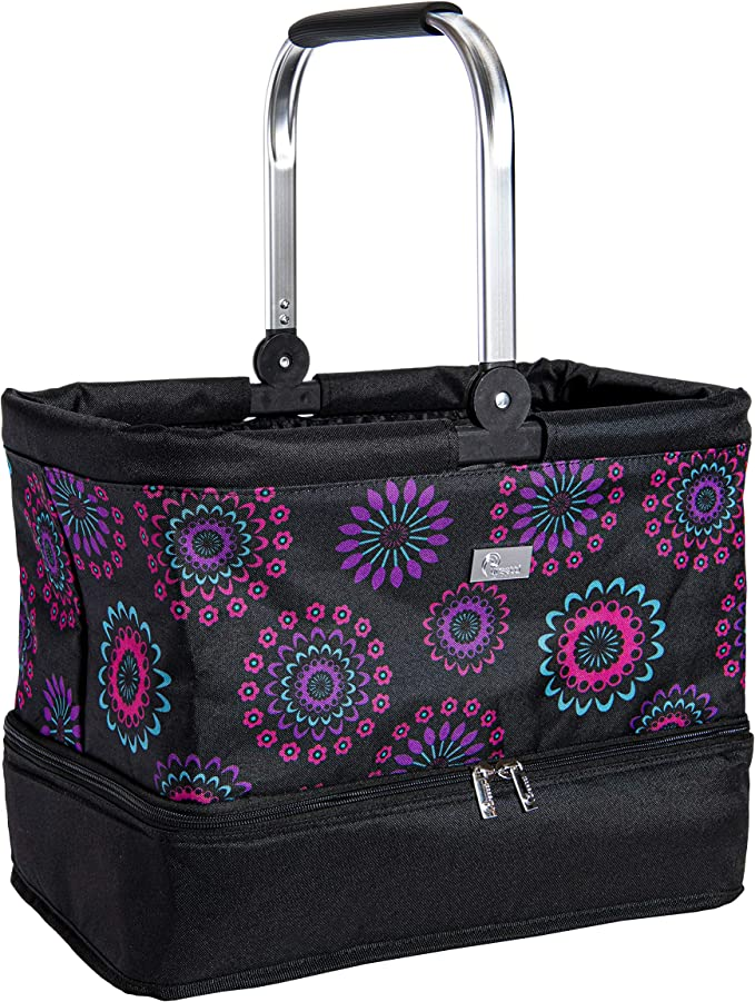 Mandala Garden Double Haul It All Market Basket  Grocery Tote  Picnic Basket  Reusable Grocery Bag Toy Storage Bags