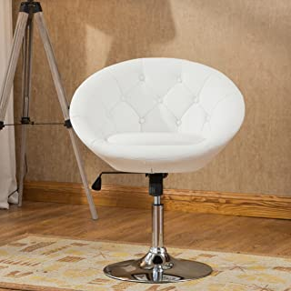 Roundhill Furniture Noas Contemporary Round Tufted Back Tilt Swivel Accent Chair, White