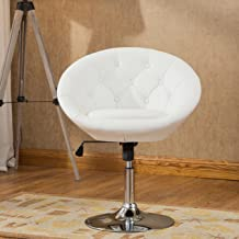 (White) - Roundhill Furniture Noas Contemporary Round Tufted Back Tilt Swivel Accent Chair, White