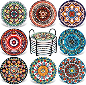 Coasters for Drinks,AODINI Set of 8 Absorbent Stone Coasters for Wooden Table, Mandala Ceramic Coasters with Cork Base, Gift for Housewarming Birthday and Family - Great Home and Dining Room Decor…
