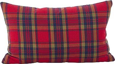 SARO LIFESTYLE Classic Tartan Plaid Pattern Holiday Cotton Down Filled Throw Pillow, 12 x 20, Red